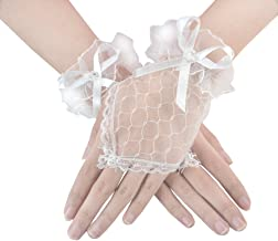 JISEN Women Short Lace Gloves for Banquet Party Performance Wedding
