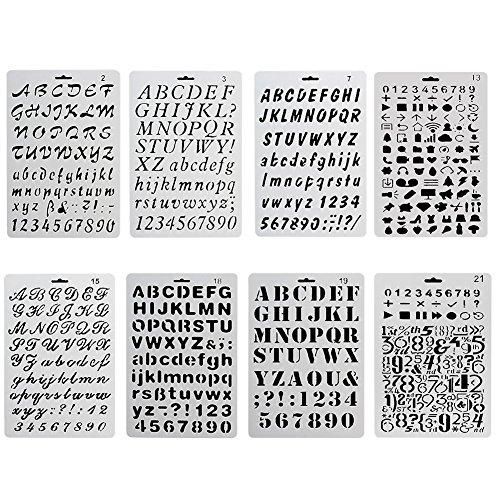 ccmart plástico Bullet diario plantilla para juego de 8con letras número alfabeto símbolo pecfect para/agenda/cuaderno/diario/Scrapbook/diario/Graffiti/tarjeta DIY dibujo pintura manualidades