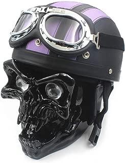 12V LED Skull Head Light Universal Headlight Lamp Helmets Goggles Headlamp Motorcycle For Harley Honda Suzuki Kawasaki Yamaha Custom Old School (black)