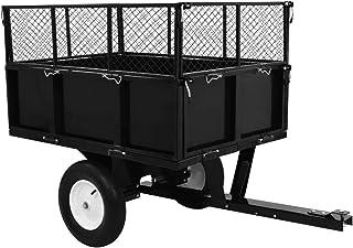 Benkeg Remolque para Tractor cortacésped Remolque de jardín Carro de Acero Negro 153 x 77 x 103 cm, Carga 300 kg