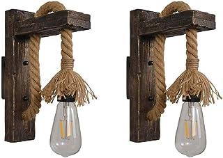 VOMI Rusticos Madera Apliques de Pared Vintage Cuerda de Cáñamo Interior Lámpara de Cabecera, Lámpara de Pared Industrial Retro Creativa Luz Pared Arte Linterna de Pared E27 Brown Red, 2 Pack