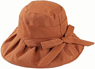 Hat Spring and Summer New Pinstripe Bow Big (Color : Orange, Size : 56-58CM)