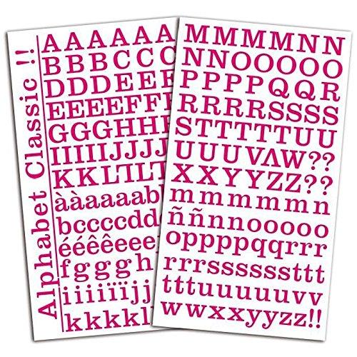 Toga sticker alfabet, andere kleuren, roze, fuchsia, 15 x 29,5 x 0,2 cm