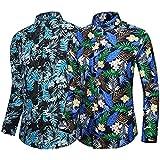 Hombres Impresos Camisas Hawaianas Manga Corta Botón Casual Abajo Camisetas de Manga Larga Camisetas de algodón de Playa Delgada Tops 2 Paquetes Combinación aleatoria-7-8_6XL