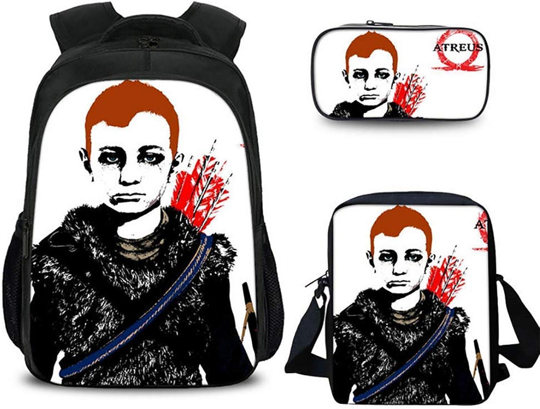 SYDFJ Gott des Krieges Schulrucksack Leichte Schultasche Reiselager im Freien Büchertasche mit Umhngetasche und Bleistiftbeutel für Ihre Kinder