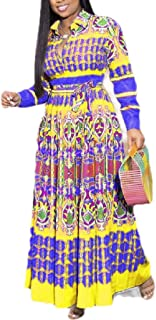 Womens Empire Waist V Neck Long-Sleeve Pleated Printed Maxi Dress