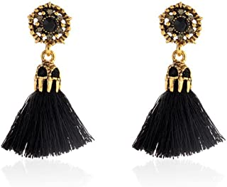 DZT1968 Women Girl Vintage hollow Crystal Tassel Dangle Stud Earrings Jewelry