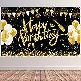 BOYATONG Happy Birthday Banner, Schwarz Gold Geburtstag
