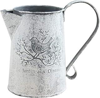 Cabilock - Jarrón rústico de estilo francés, jarra de estaño vintage, jarrón de metal para decoración del hogar, jardín, 1...