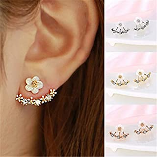 Naomi Women Fashion Accessories Crystal Stud Earrings Boucle d'oreille Femme Flower Earrings Gold Bijoux Jewelry Silver