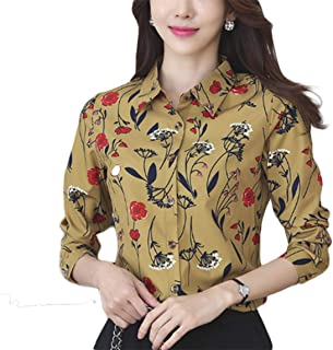 Thx Style Women's Long Sleeve Collared Button Down Floral Printed Shirt Blouse Tops
