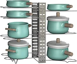 EZOWare 8+ Pots and Pans Organiser Rack, 8 Tier Adjustable Pot Pan Lid Holder Rack with 3 DIY Positioning Methods, Storage...