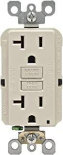 Leviton GFNT2-T Self-Test Smartlockpro Slim GFCI Non-Tamper-Resistant Receptacle with LED Indicator, 20-Amp, 10 Pack, Light Almond