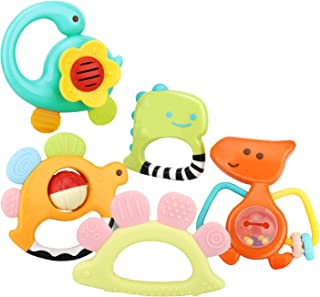 Zooawa Baby Teething Toy Set, [5 Pack] Soft Rattle Teething Toy for Pain Relief, BPA-Free Teether Dinosaur Rattles Toy Age...