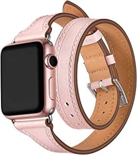 WAfeel Smart Watch Band Compatible for Watch Series 3/2/1 Genuine Leather iwatch Strap 38mm Double Tour T-Shape Designed Thread Slim with Metal Clasp Replacement Bracelet (Pink 38mm)