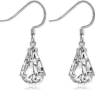 Sllaiss Made with Swarovski Crystals Teardrop Dangle Earrings for Women 925 Sterling Silver French Hook Earrings Hypoaller...