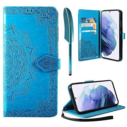 """AROYI Funda Compatible con Samsung Galaxy S21+ 5G 6.7"""", Funda Samsung Galaxy S21 Plus 5G Libro Protectora Piel PU Soporte Plegable Ranura para Tarjeta Magnético Cuero Flip Carcasa Case, Azul"""