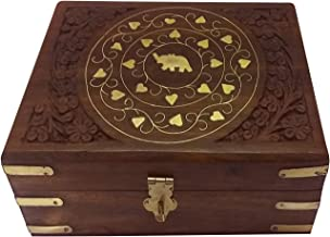 Crafts idea Jewelry Boxes Brass Inlay Elephant Design Great Gifts for Women and Girls for All Occasions (Small)