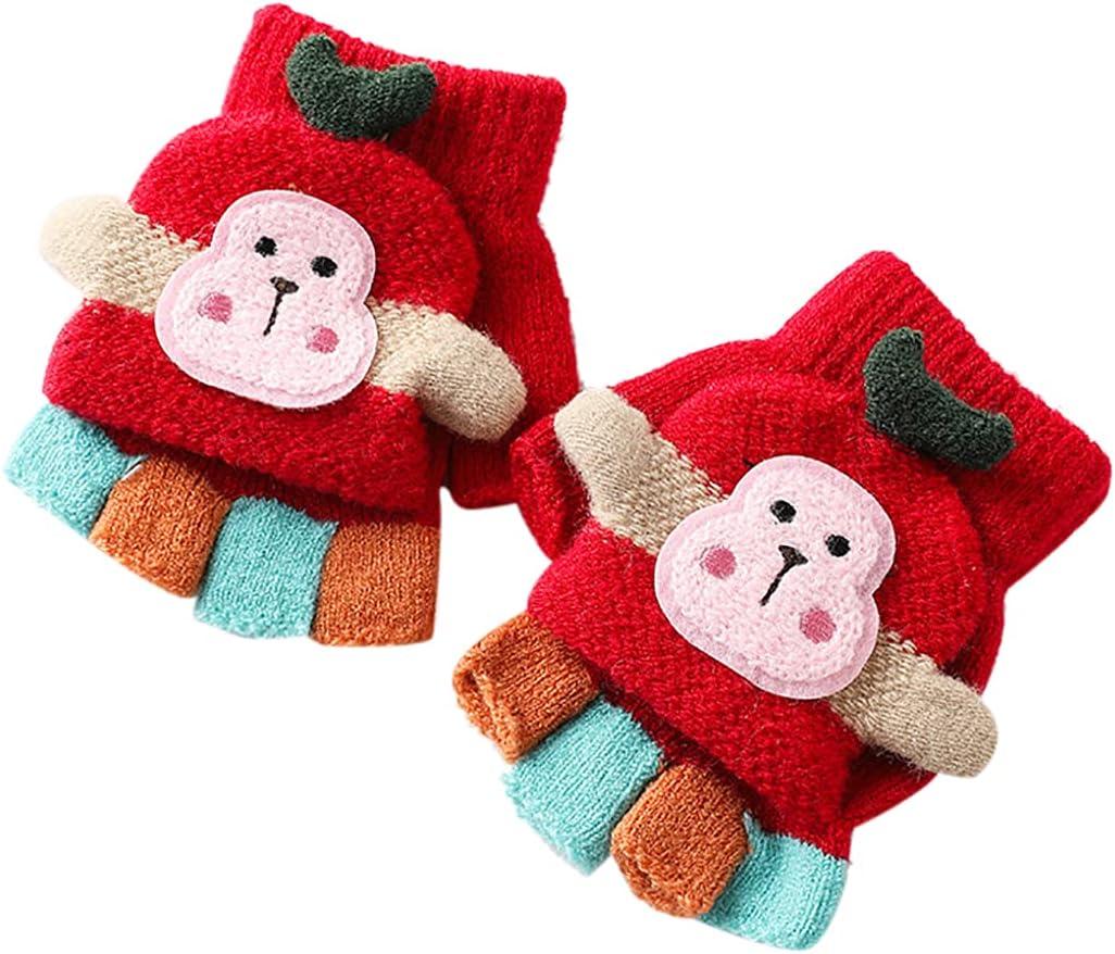 Licogel Kid Fingerless Gloves Convertible Cute Soft Fingerless Mittens Flip Top Gloves Girl Washable Portable Fashion