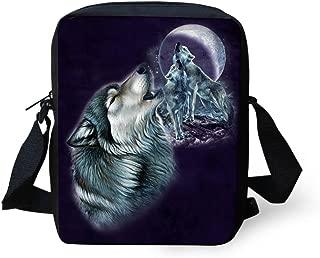 UNICEU Animal Wolf Printed Small Messenger Shoulder Bag Cross Body Purse Satchel