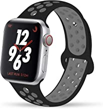 AOSOK Sport Band for Apple Watch 44mm 40mm 42mm 38mm, Breathable Soft Silicone Sport Band Replacement Wrist Strap for Apple Watch Series 4/3/2/1,Nike+,Sport, Edition (Black/Grey, 42mm/44mm M/L)