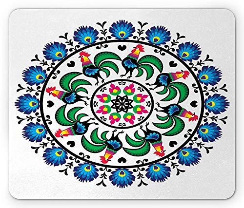Tappetino per mouse Gallus, cerchio con galli Mandala Forma rotonda Europa centrale simbolo europeo mosaico arte, tappetino per mouse in gomma antiscivolo rettangolo di dimensioni standard, multicolor