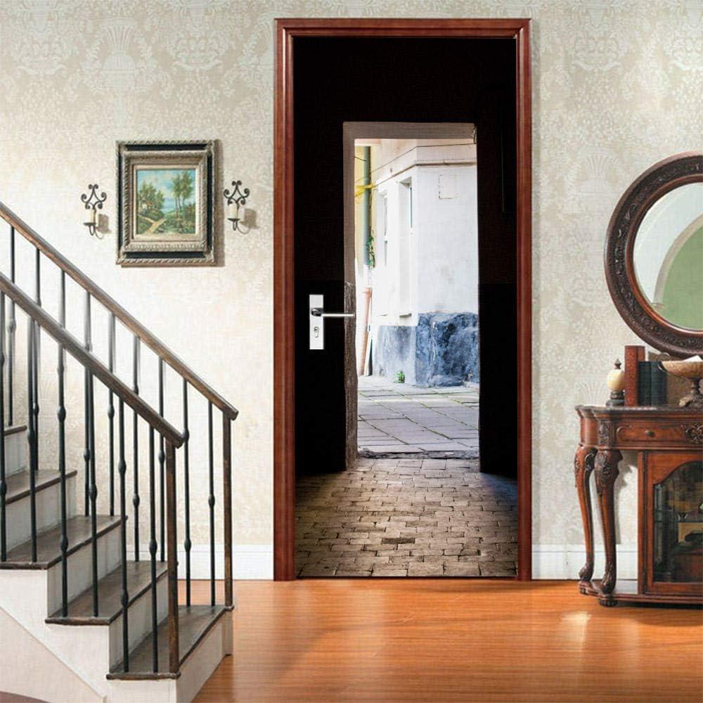 77x200cm 3D Porte Autocollant Chambre Porte Int/éRieure Auto-Adh/éSif Mural D/éCoration De La Maison Art D/éCalque Chambre Salon Affiche Amovible Stickers Porte