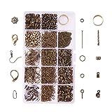 PandaHall Elite Kit per Gioielli con Tappi di Perline Spilli/estremità del Cavo/Catene trasversali, Barre per Pizzico/Perline a crimpare/Anelli per Saltare/Ganci per Orecchini Colore Bronzo Antico