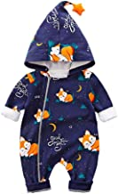 Lausana Baby Hoodie Romper Jumpsuit Long Sleeve Bodysuit Cartoon Fox Print Outfit Unisex 0-24 Months