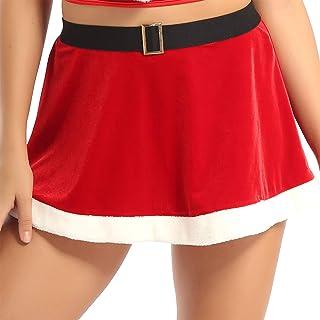 LiiYii Women's Flannel Christmas Costume Faux Fur Trim Skirt A-Line Mini Skirts Party Clubwear