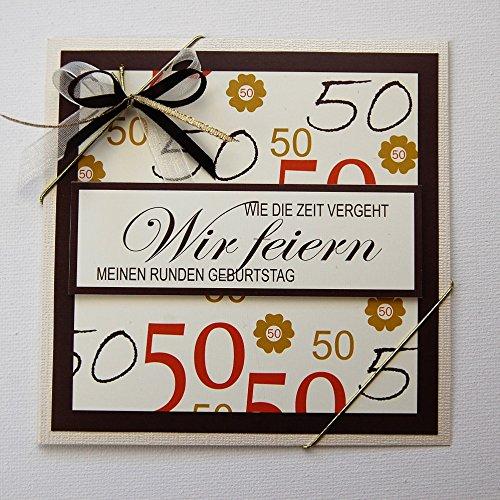 Unbekannt 5X Einladungskarten zum 50 Geburtstag *Handmade*in Creme-braun-tönen*