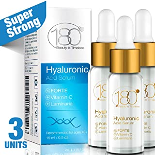 Hyaluronic Acid Vitamin C Facial Serum Strong- Pack of 3-180 Cosmetics - Face Lift Skin Serum for Face and Eyes - Pure Hyaluronic Acid For Immediate Results - Hydrating - Anti Aging - Wrinkles