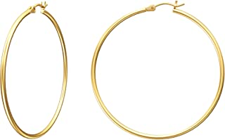 Gold Hoop Earrings for Women, 14K Gold Plated Hoops with...