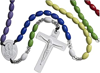 Colorful Prayer Bead Catholic Rosary for Kids, 16 3/4 Inch