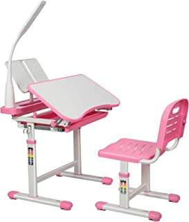 WXBOBO Kids Functional Desk and Chair Set, Height Adjustable Children School Study Desk with Tilt Desktop, Bookstand, LED ...