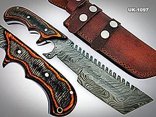 Poshland Knives TR-1097, CUSTOM HANDMADE DEMASCUS STELL TRACKER KNIFE – TWO TONE DOLLAR SHEATH HANDLE