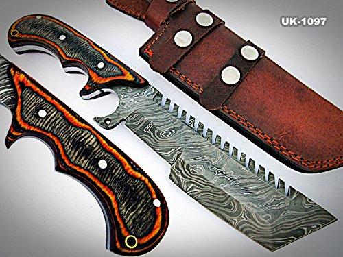 Poshland TR-1097, Custom Handmade DEMASCUS STELL Tracker Knife – Two Tone Dollar Sheath Handle