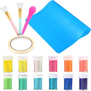 Sntieecr 17 Pieces Glitter Tumblers Making Kit with 12 Colors Glitter Powder, 2 PCS Silicone Epoxy Brushes, Large Size Silicone Mat, 1 PCS Silicone Stir Stick and 1 Roll Mask Tape for Craft Tumblers