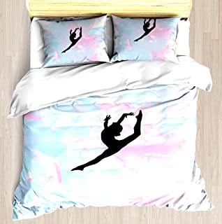 Water Colour Gymnastics Silhouette - Duvet Cover Set Soft Comforter Cover Pillowcase Bed Set Unique Printed Floral Pattern Design Duvet Covers Blanket Cover Queen/Full Size