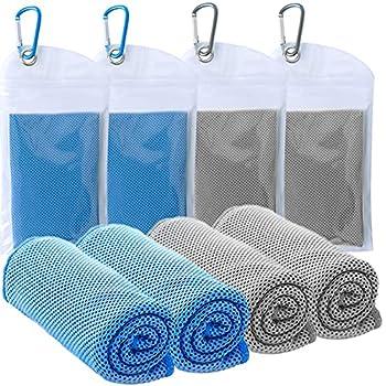 Lot de 4 serviettes rafraîchissantes (101,6 x 30,5 cm) - Douces et respirantes - En microfibre - Pour le sport, la course, la gym, l'entraînement, le camping, le fitness, le yoga