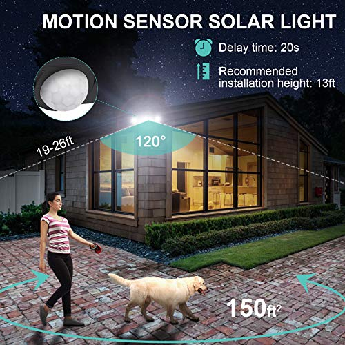 iMaihom 2200LM LED Solar Security Lights Outdoor, 132 LEDs Motion Sensor Solar Lights, 3 Modes 5000K Flood Lights with 3 Adjustable Heads, IP65 Waterproof Wall Lights for Patio, Garage, Yard (2 Pack)