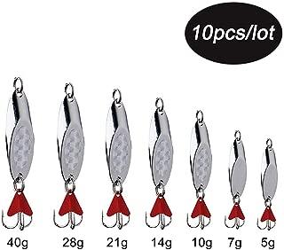 Metal Fishing Jigging Spoon Lure Casting Blade SpinnerBaits 10Pcs Treble Hooks Tackle for Salmon Bass 0.17oz-1.76oz