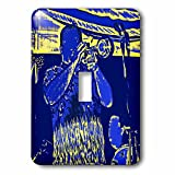 3dRose lsp_164440_1 Trumpet Player W Drummer Blue Yellow Vintage Light Switch Cover