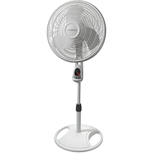 Lasko 1646 16″ Remote Control Pedestal Fan with Built-in Timer, White -