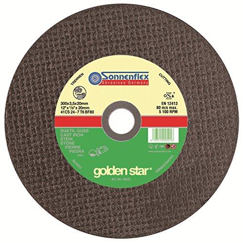 Sonnenflex, Set di dischi da taglio TSS golden Star, per pietra, 80 m/s, 25 pz, 300 x 3,5 x 20 mm, CS 24 T 6 BF 7