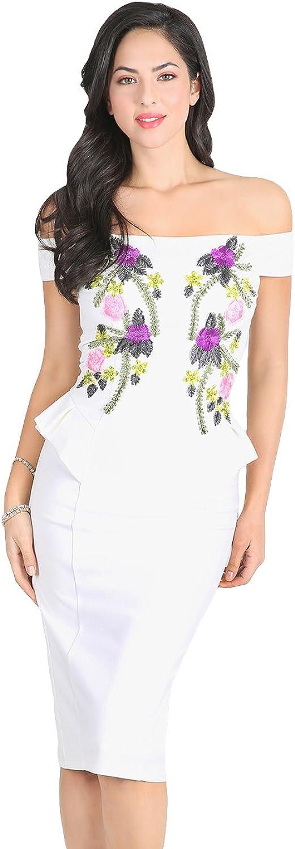 Nikibiki Floral Applique Off Shoulder Dress