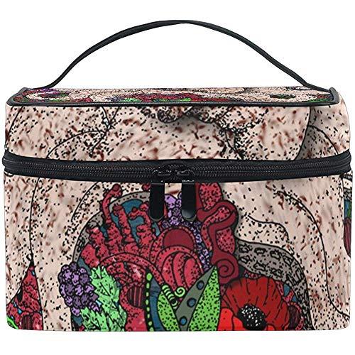 Korallenrote Rose Kunst-Kosmetik-Taschen-Reise-Make-upzug umkleidet Speicher-Organisator