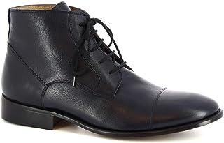 Leonardo Shoes Polacchine Eleganti Uomo Artigianali Pelle di Vitello Blu Scuro - Codice Modello: Pina 3022 Vitello Bleu