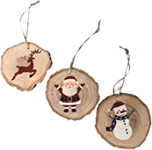 Set of 3 Large Oak Christmas Ornaments - Santa, Reindeer & Snowman Hand-Painted Wooden Christmas Tree Decorations - Perfect Xmas Ornaments Mini Gift Sets for Family & Coworker Red Ornament Decoration