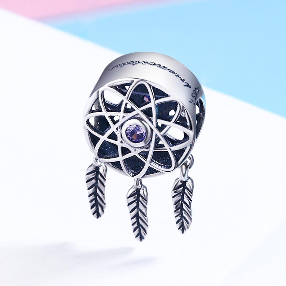 BAMOER 925 Sterling Silver Retro Openwork Flourishing Flower Charm Beads fit Women Charm Bracelet
